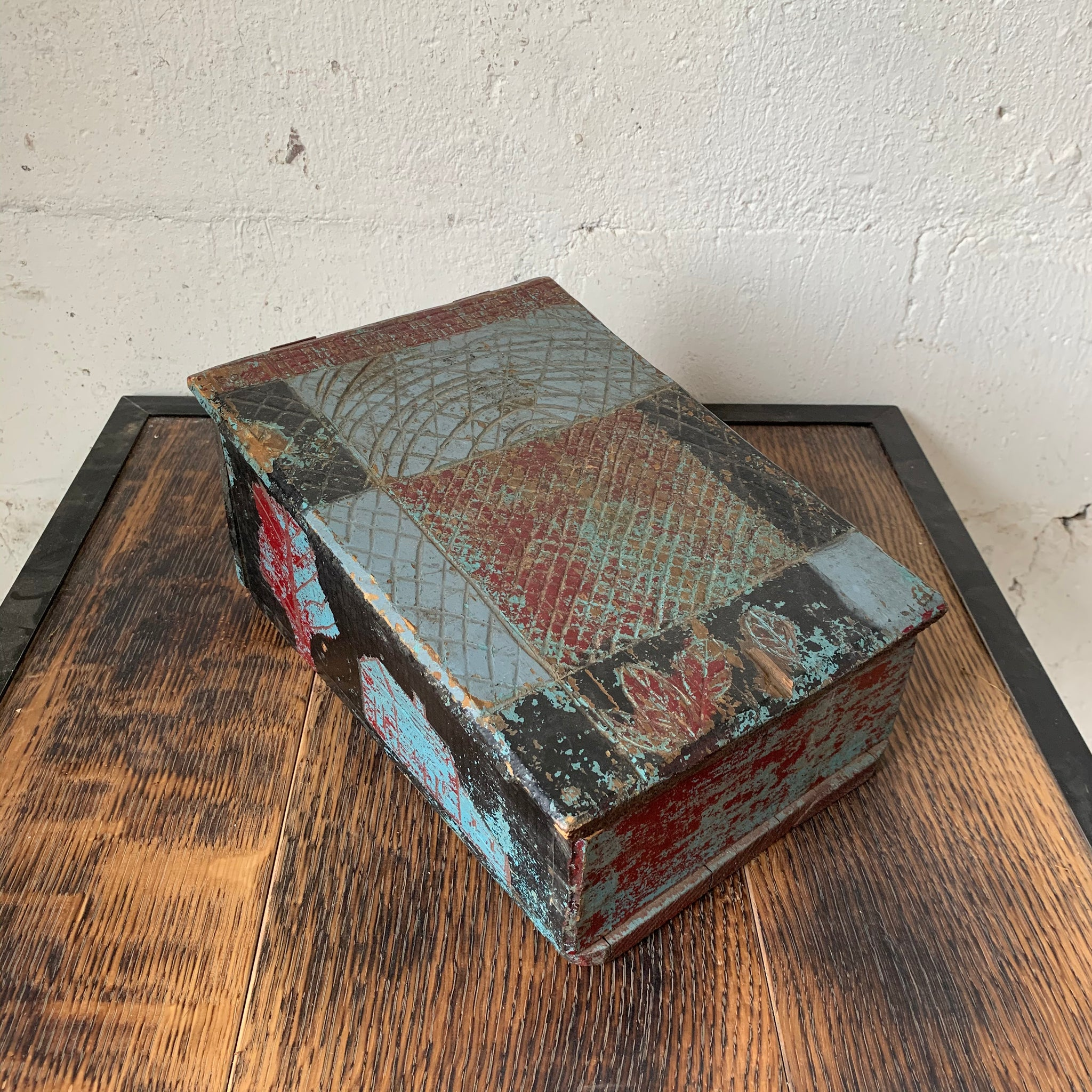 19th Century Painted Slant Top Box