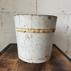 Vintage Wooden Bucket in Great Old White Finish