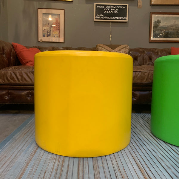 Yellow Mid-Century Leather Ottoman, attributed to Florence Knoll