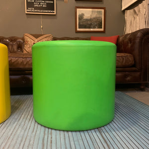 Green Mid-Century Leather Ottoman, attributed to Florence Knoll