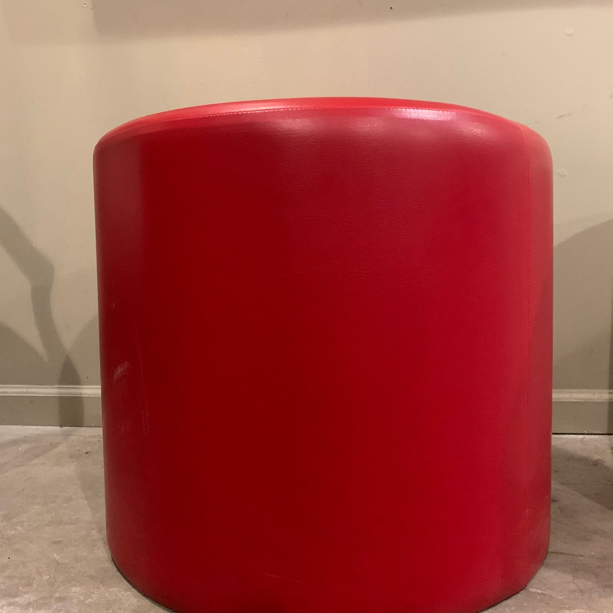 Red Mid-Century Leather Ottoman, attributed to Florence Knoll
