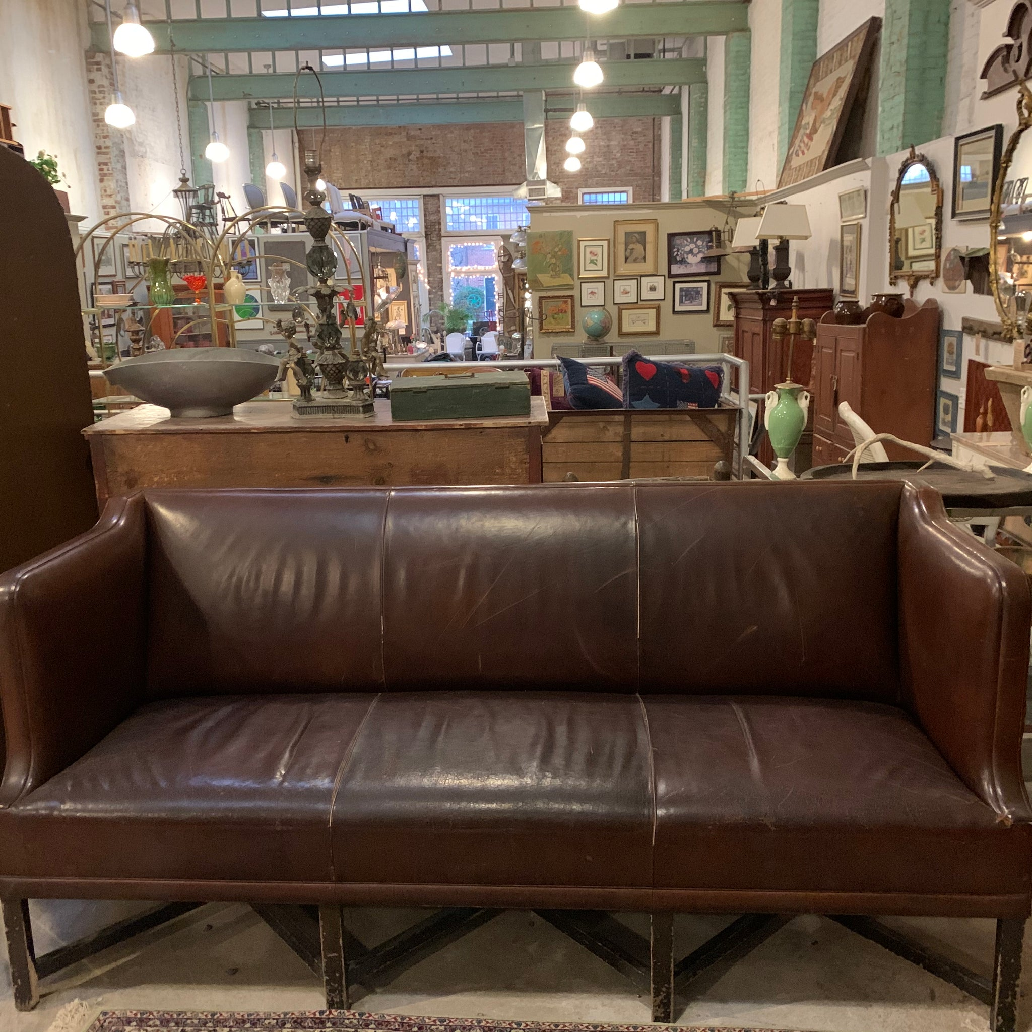 Antique Vintage Leather Lobby Sofa from Hotel Wales in NYC