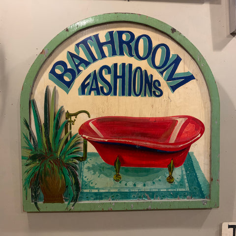 "Fabulous, Antique, ""Bathroom Fashions"" Wooden Painted and Carved Sign"