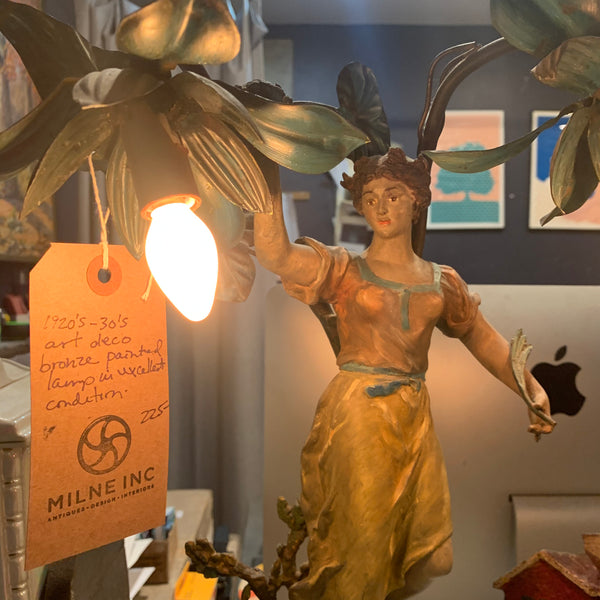 1920's-30's Art Deco Bronze Painted Lamp in excellent condition