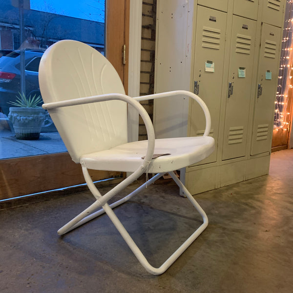 Classic Mid-Century Deck Chairs, repainted bright white