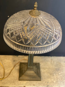 Antique Waterford Crystal lamp retaining its original patinated bronze base c 1940's