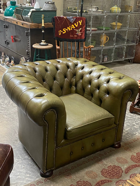 Antique tufted chesterfield chair c 1930
