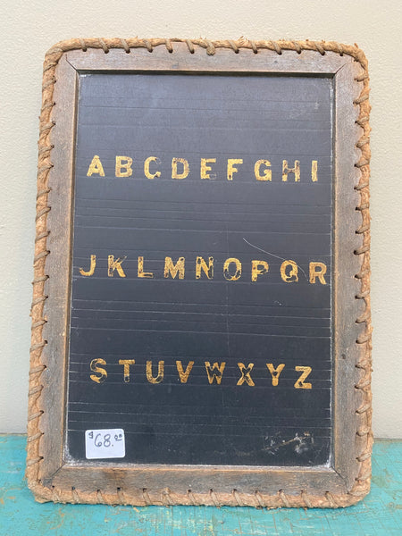 Antique slate chalkboard with original wood frame and woven leather detail