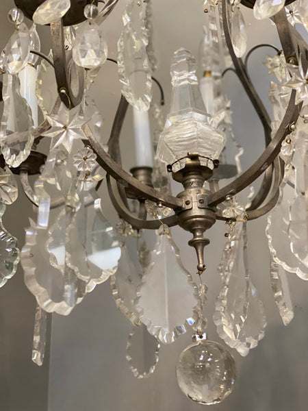 Antique christal and iron chandelier C 1940's