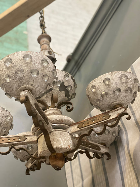 1920's Antique French wood and iron with christal detail chandelier