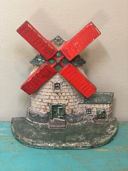 Danish windmill Antique Cast Iron Door Stop