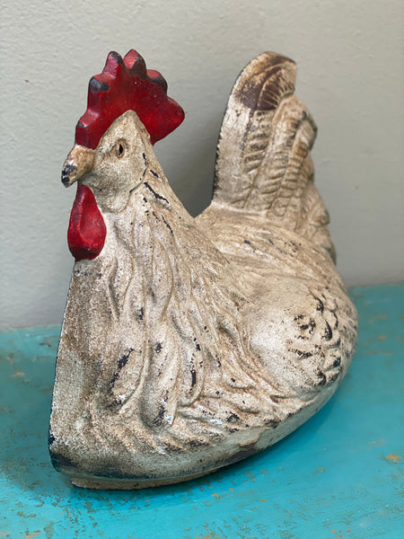 Vintage Painted Cast Iron Door Stop Doorstop with Chicken
