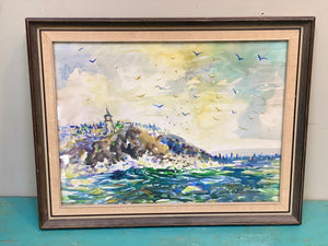 NY lighthouse water color c 1960's signed