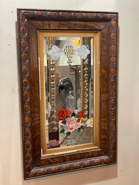 19th Century Chinese handprint mirror with convex glass
