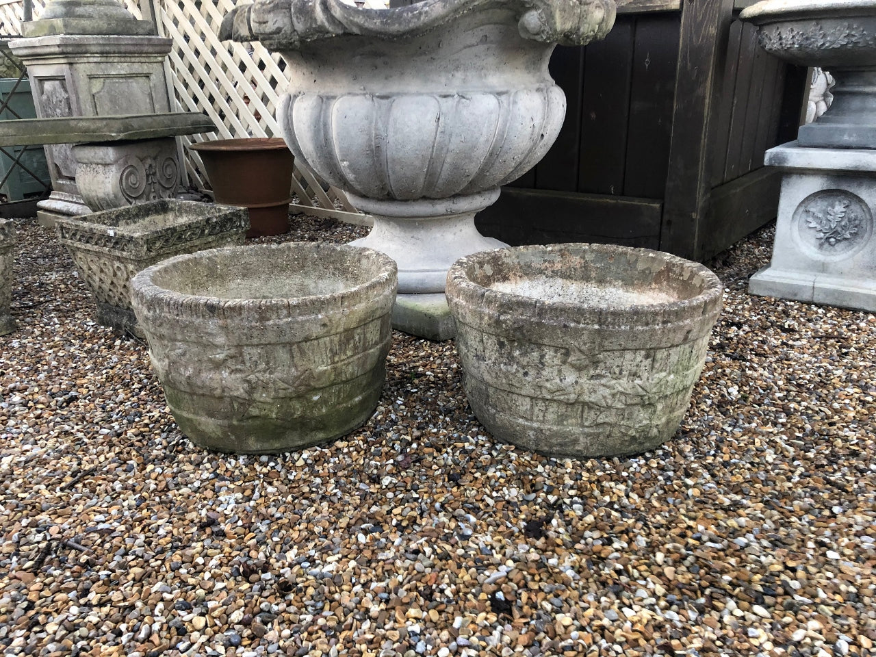 Pair of Simple, Vintage Banded Pots in Great Natural Patina