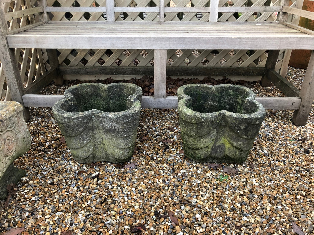 Pair of Wonderfully Patinated Antique Clover-Shaped Planters