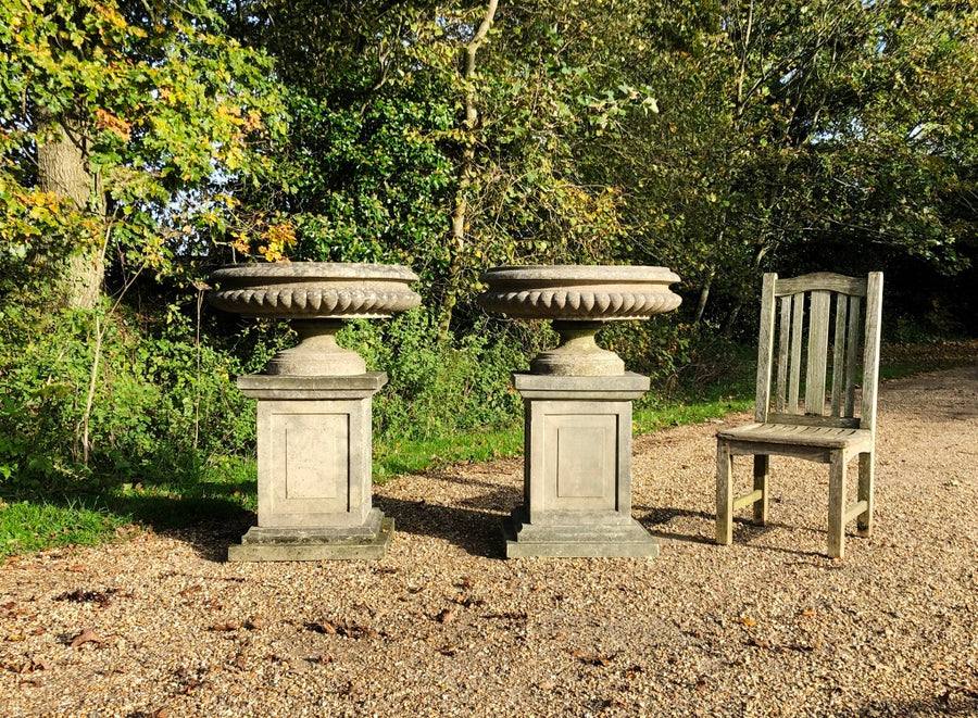 Pair of Monumental, Elegant, English, Antique, Cast Stone, Urns On Pedestals