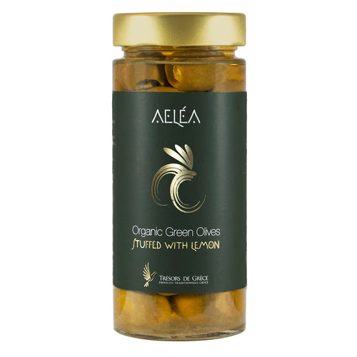 Aelea Greek Organic Green Olives Stuffed with Lemon, 170g Glass Jar