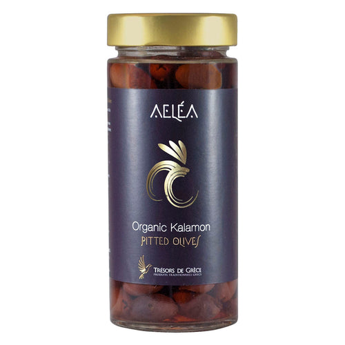 Aelea Greek Organic Kalamata Olives pitted, 140g Glass Jar