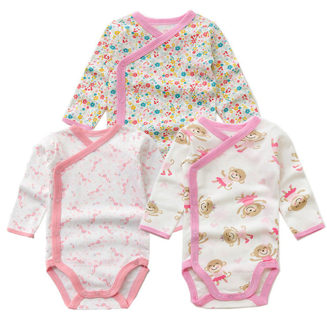 184fedf675b0 3 PCS Smiling Babe Brand Baby Romper Long Sleeves Cotton Newborn Baby Girl  Boy Clothes Cartoon