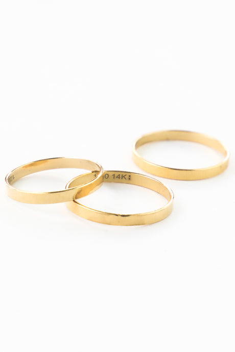 FLAT GOLD BAND STACKING RING