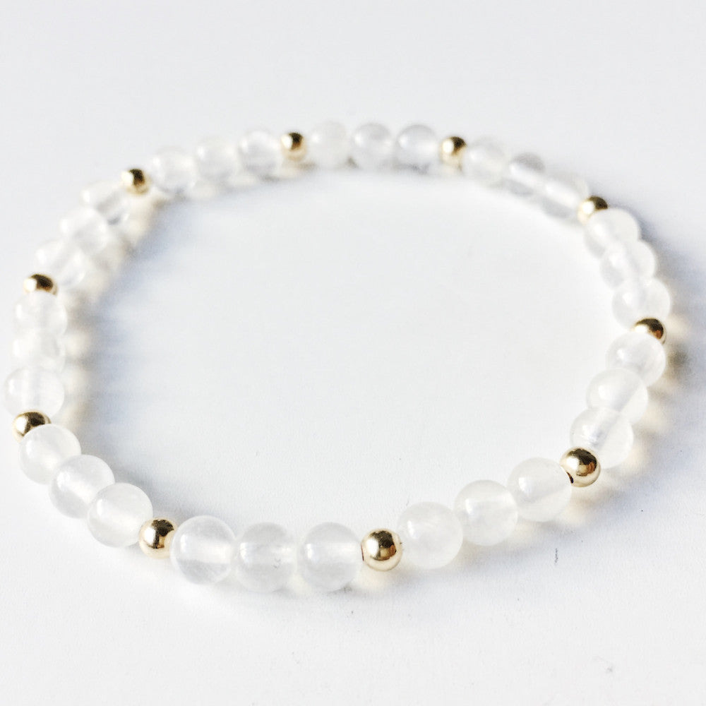 Luck + Positivity | White Jade Stacking Bracelet