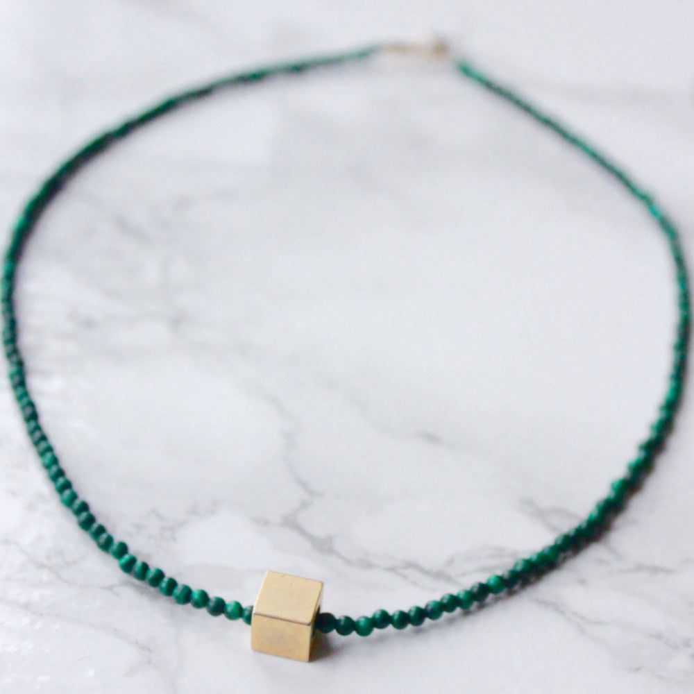 Malachite Geometric Choker | Stone of Abundance