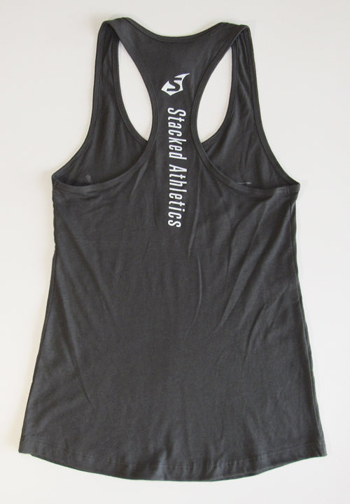 Ladies Stacked tank charcoal