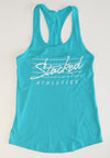 Ladies Stacked tank teal