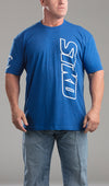 Tee Mens BLOCK print blue
