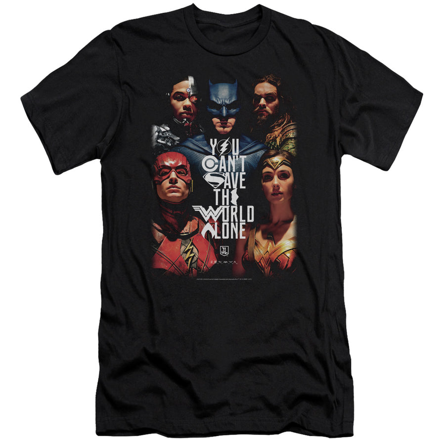 Justice League Movie Save The World Poster Premium T-Shirt