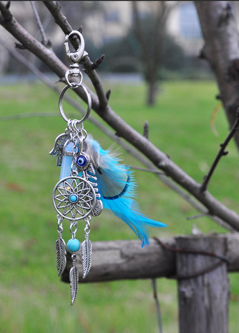 Dream Catcher Healing Stone Keychain