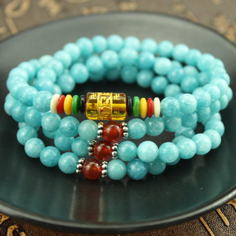Blue Amazonite Healing Energy Mala Bracelet/Necklace