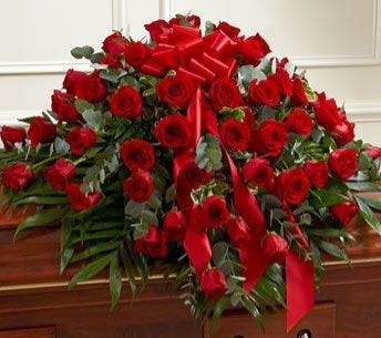 Ravishing Red Rose Casket spray ~~ Sympathy