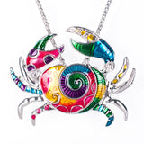 Enamel Sea Crab Necklace and Earring Set