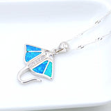 Ocean Blue Opal Manta Ray Pendant Necklace with Free Chain