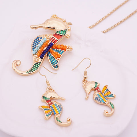 Enamel Seahorse Jewelry Set - Necklace & Earrings