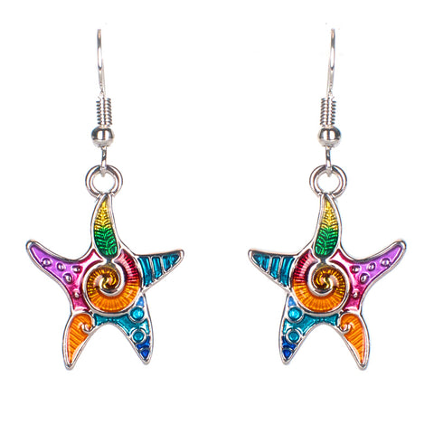 Colorful Art Deco Starfish Earrings