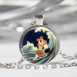 A Romantic Kiss in the Ocean Waves - Art Deco Pendant Necklace w/ Chain