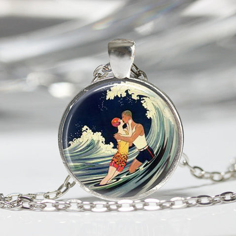 A romantic kiss in the ocean waves art deco pendant necklace w a romantic kiss in the ocean waves art deco pendant necklace w chain aloadofball Images