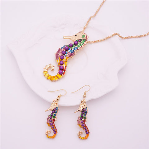 Colorful Enamel Seahorse Pendant Necklace & Earring Set