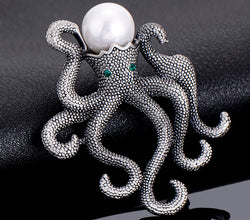Unique Antique Plated Octopus Brooch