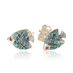 Sterling Silver Ocean Fish Stud Earrings with Stones