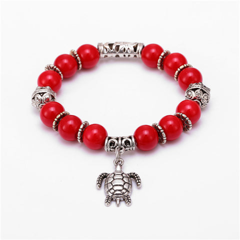 Natural Stone Bead & Sea turtle Charm Bracelet