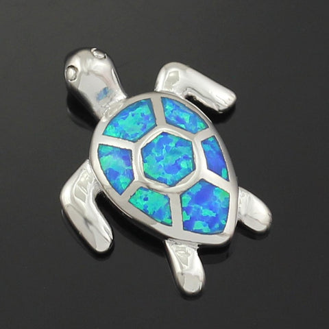 Blue Fire Opal Sea Turtle Design Pendant Necklace 1