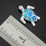 Blue Fire Opal Sea Turtle Design Pendant Necklace 2