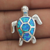 Blue Fire Opal Sea Turtle Design Pendant Necklace 3
