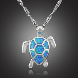 Blue Fire Opal Sea Turtle Design Pendant Necklace