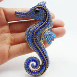 Seahorse Brooch Pin with Blue Rhinestone Crystals