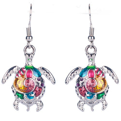 Colorful Enamel Sea Turtle Earrings